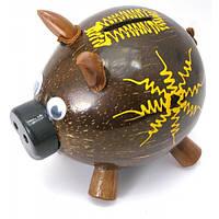 """Копилка """";Свинка""""; кокосовая (14х15х10 см) Код:29677"""
