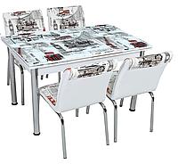 """Комплект кухонный стол и стулья """"Лондон"""" МДФ каленое стекло 70*110 (Лотос-М)"""