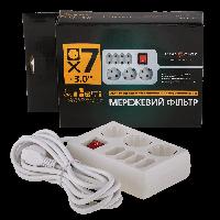 Сетевой фильтр LogicPower LP-X7, 7 розеток, цвет-белый, 3,0 m