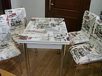 """Раскладной стол обеденный кухонный комплект стол и стулья 3D рисунок 3д """"Лондон"""" ДСП стекло 70*110 Лотос-М, фото 1"""