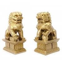 "Собаки Фу пара каменная крошка "";бронза""; (10,5х6х4 см) Код:20604"