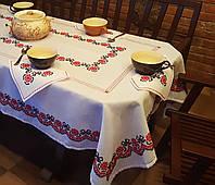 Набор вышитая скатерть с салфетками ручной работы с ажурной красной мережкой Калиновый венок
