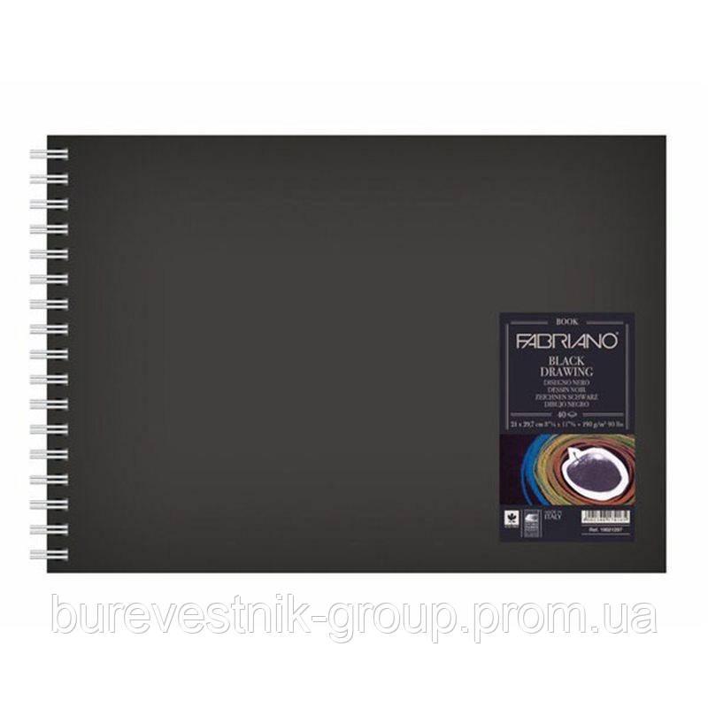 """Блокнот для эскизов с черными листами ( BlackBook ) А5 """"Murillo Nero"""" Fabriano (Италия)"""
