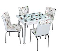 """Комплект кухонный стол и стулья """"Чайники"""" МДФ каленое стекло 60*90 (Лотос-М)"""