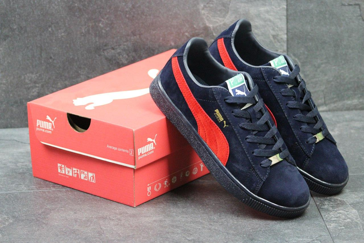 Кроссовки Puma Suede мужские (темно-синие с красным), ТОП-реплика