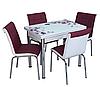 """Раскладной стол обеденный кухонный комплект стол и стулья 3D рисунок 3д """"Розы сиреневые"""" стекло 60*90 Лотос-М"""