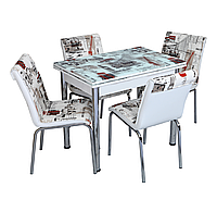 """Розкладний стіл обідній кухонний комплект стіл і стільці 3D малюнок 3д """"Лондон"""" ДСП скло 60*90 Лотос-М"""