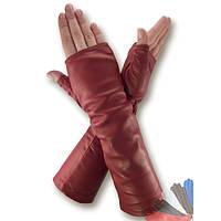 Женские перчатки митенки из натуральной кожи модель 382-31см