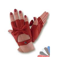 Женские перчатки митенки из натуральной кожи модель 399.