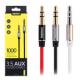 Кабель AUX Remax RM-L100 Audio DC3.5 папа-папа 1.0м, GOLD Stereo Jack, (круглый) red cable, Corton Box