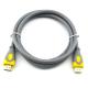 Кабель HDMI-HDMI V-Link High Speed 5.0m, v2,0, OD-8.2mm, круглый Grey, коннектор Grey/Yellow, (Пакет)