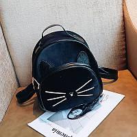 Рюкзак женский бархатный Кот с меховыми ушками (черный)