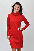 Красивое  женское трикотажное платье красного цвета с воротником хомут размер  36, 38, 40, 42, 44