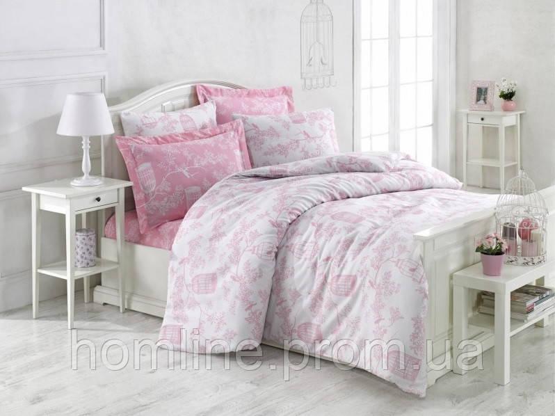 Постельное белье Eponj Home ранфорс Samyeli розовое евро размер