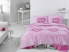 Постільна білизна Eponj Home ранфорс Sueno рожеве євро розмір
