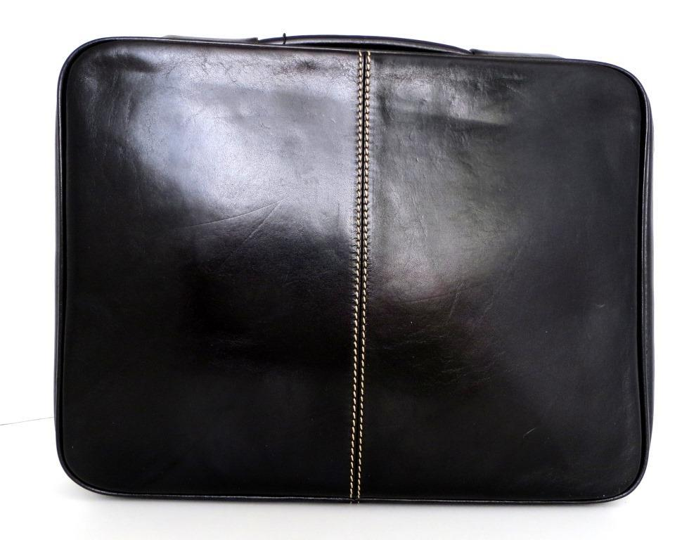 Папка-портфель из натуральной кожи (Италия). Черный