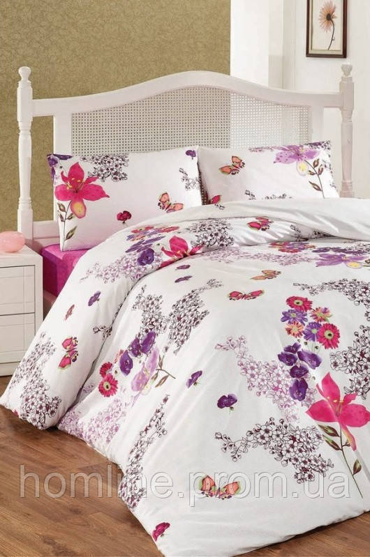 Постельное белье Eponj Home ранфорс Tulipa розовое евро размер