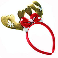 Обруч на голову Новогодний с рожками оленя коричневый