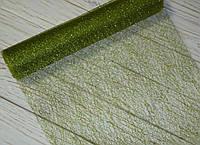 Декоративная сетка-паутинка зеленая в блестках 90 см, фото 1