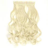 Прядь накладная на клипсах из искусственных вьющихся термо-волос 65 см №613 блонд