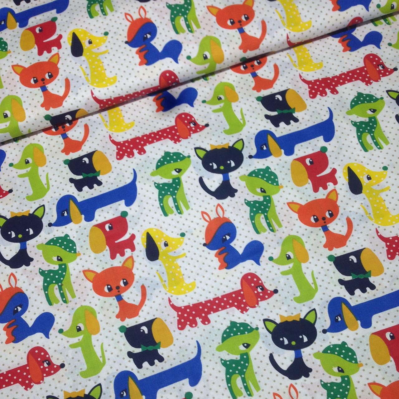 Хлопковая ткань польская собачки, котики, олени с серым горошком на белом №237