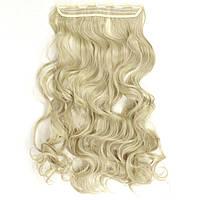 Прядь накладная на клипсах из искусственных вьющихся термо-волос 80 см №24-613 пепельный блонд