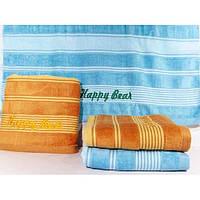 """Велюровые банные полотенца с вышивкой """"Happy Bear"""" ПБ0165"""
