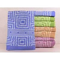 Махровые лицевые полотенца с вышивкой по кайме и рисунком по полотне ПЛ0195
