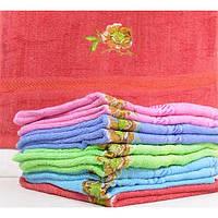 Махровые лицевые полотенца с вышивкой цветка розы ПЛ0216