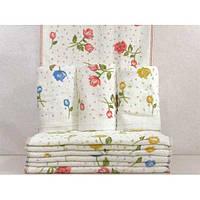 Велюровые кухонные полотенца с рисунком цветов ПК00132