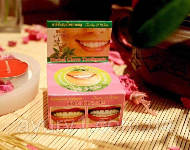 Тайская отбеливающая зубная паста Thai Kinaree с маслом Гвоздики / 25 г