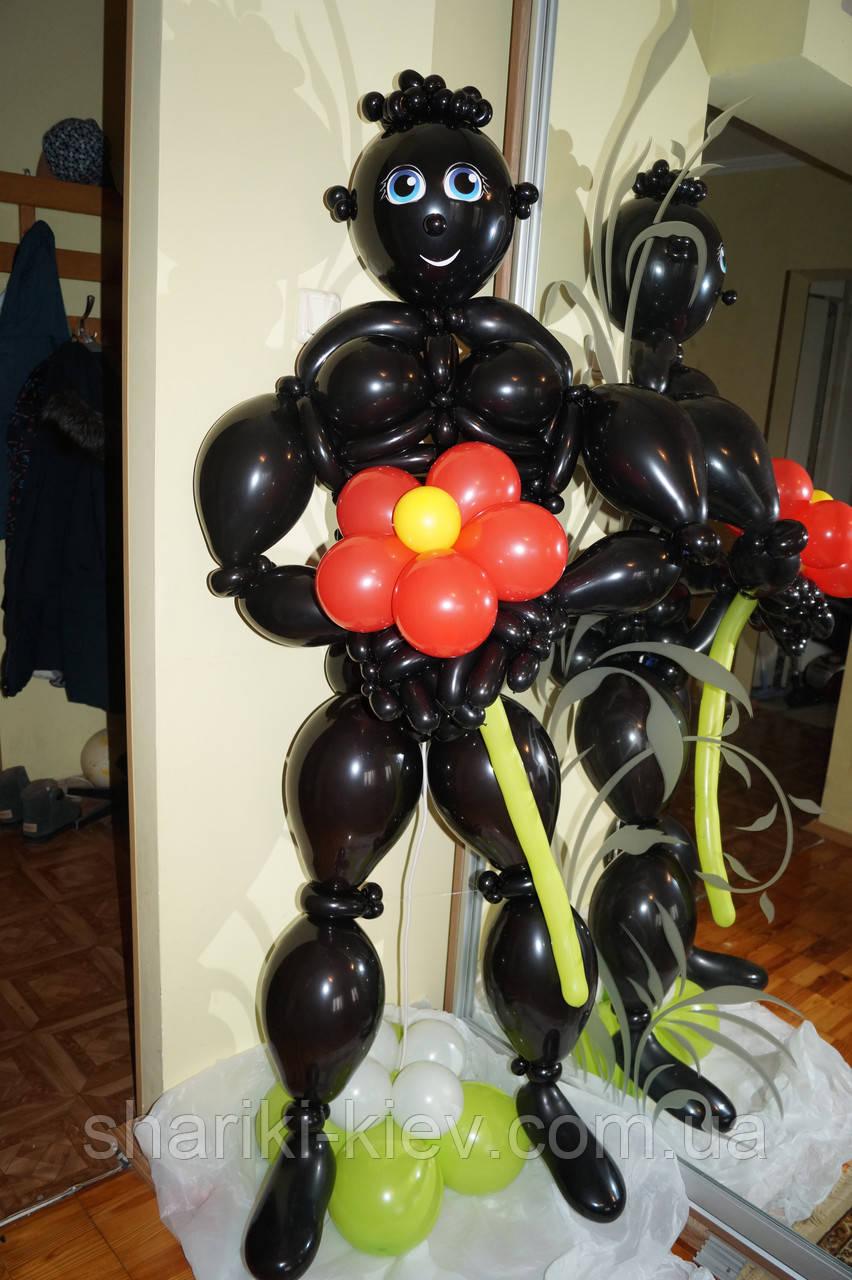 Фигура стриптизера афроамериканца из шаров на День рождения, Юбилей, девишник