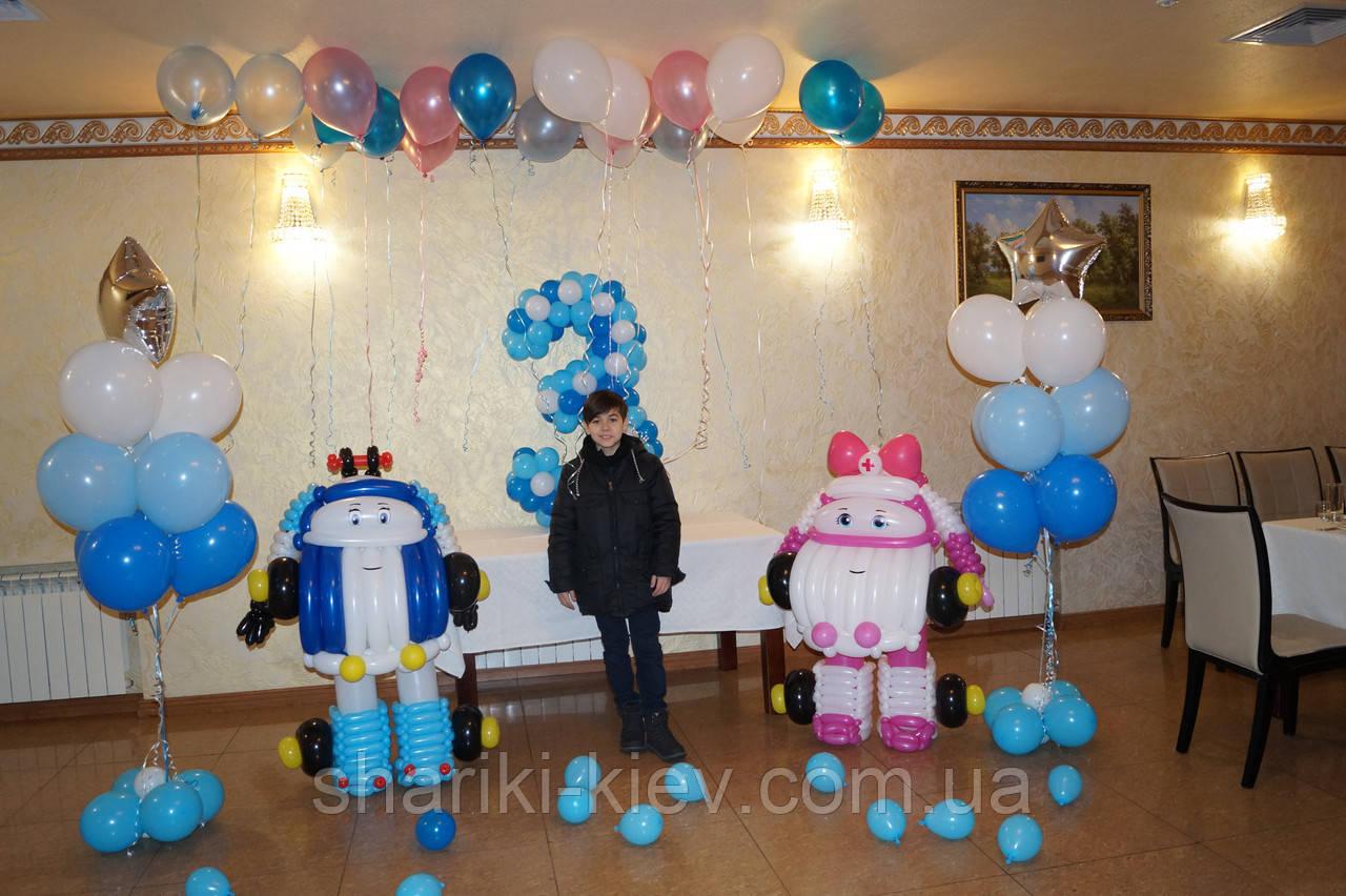 Оформление воздушными шариками в стиле Робокар Полли на День рождения. Готовое решение.