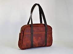 Кожаная сумка для путешествий цвет коньяк