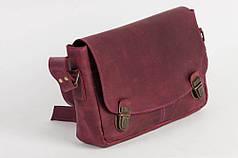 Женская кожаная сумочка через плечо бордовая
