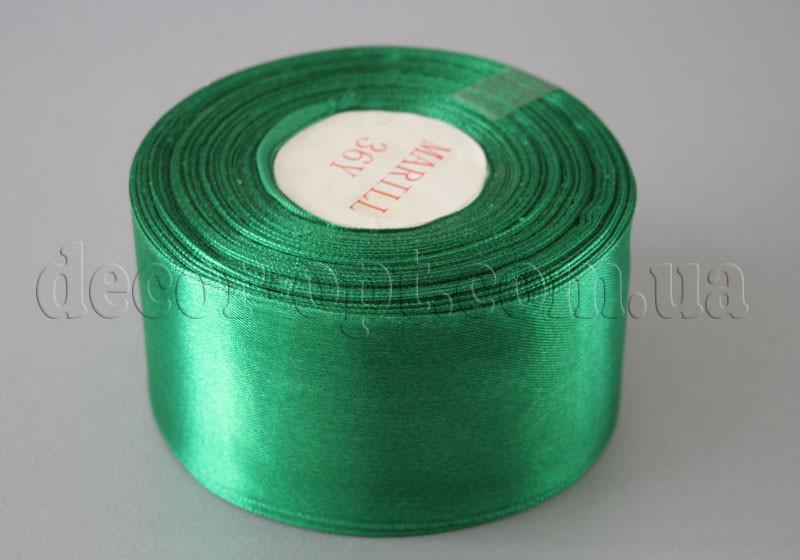 Лента атласная зеленая 5,00 см 36ярд 19
