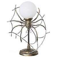Настольная лампа кованая Паук на паутине 1 лампа старая бронза