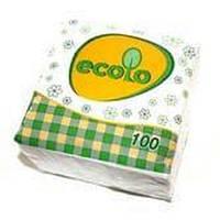 Салфетки бумажные, белые (100шт) Ecolo