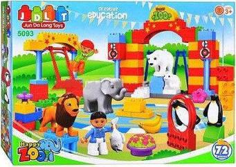 """Конструктор JDLT 5093  (аналог Lego Duplo) """"Зоопарк"""" 72 деталей"""