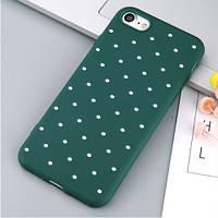 Мягкий TPU чехол дляiPhone 7/8 Белый горошек (Зеленый)