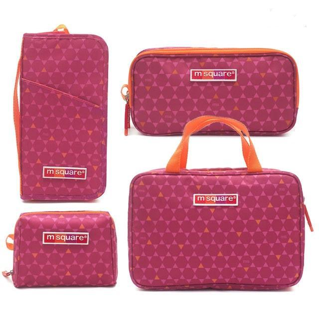 Большой дорожный набор в ромбики розовый (4 шт)