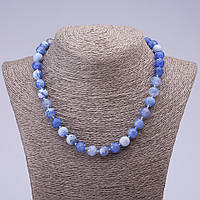 Бусы натуральный камень Голубой Агат граненный шарик d-10мм L -46см