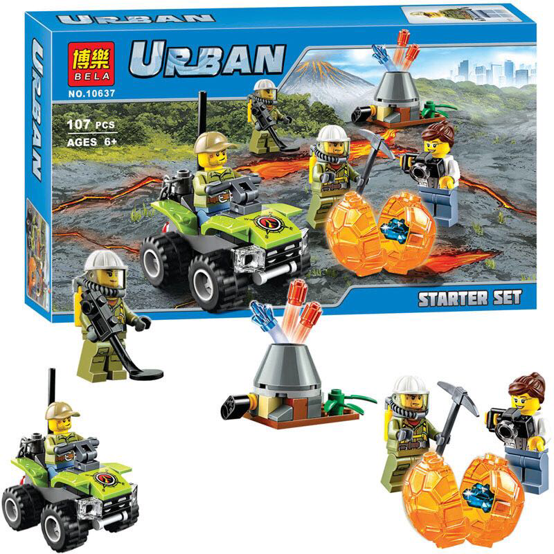 """Конструктор Bela 10637 Urban """"Дослідники вулканів"""" 107 деталей. (Аналог LEGO City 60120)"""