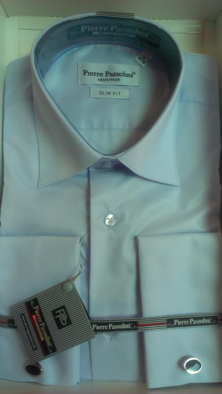 Мужская рубашка приталенная запонку Pierre Pasolini нежно-голубая