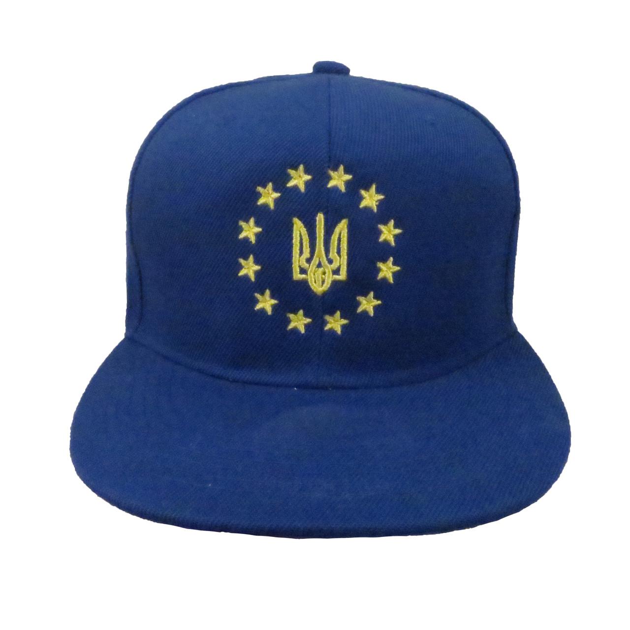 Синяя патриотическая кепка с желтым тризубом
