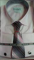 Мужская рубашка приталенная запонка Pierre Pasolini нежно-розовая