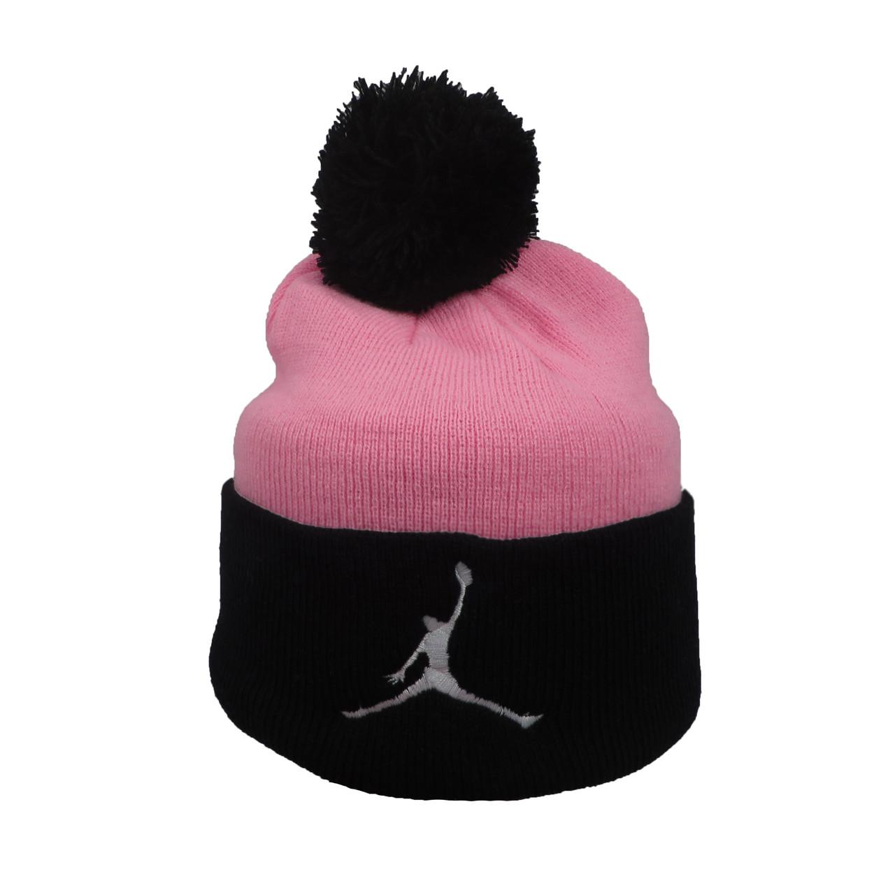 Розовая шапка Jordan с черным помпоном (реплика)