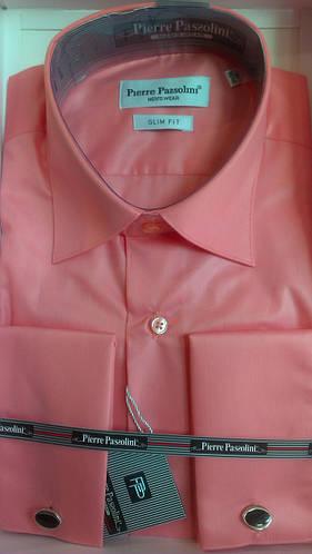 Рубашка приталенная запонка Pierre Pasolini светлый коралл