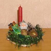 Свечи новогодние - Грибок-Боровичок, Дракоша, икебана с Дедом Морозом, голубая свеча