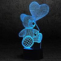 """3D Ночник , Светильник, LED лампа - """"Мишка с шариком"""""""